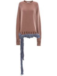 J.W.Anderson Jw Anderson Crewneck Jumper With Georgette Drapes Pink