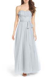 Watters Women's Angelie Strapless Tulle Gown French Blue