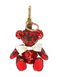 Burberry Thomas Bear Charm In Sequins And Leather Red