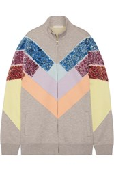 Marc Jacobs Oversized Sequin Embellished Paneled Jersey Sweatshirt Gray