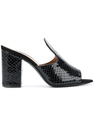 Via Roma 15 Snakeskin Effect Mules Black