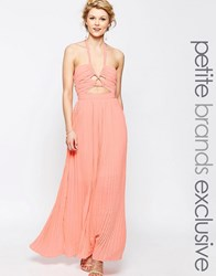 True Decadence Petite Chiffon Maxi Dress With Cut Out Detail Pink