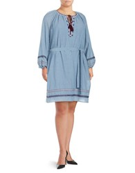 Lord And Taylor Plus Embroidered Chambray Dress Blue