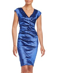 Nicole Miller Ruched Sheath Dress Electric Blue