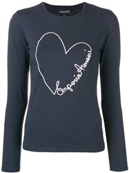 Emporio Armani Embroidered Heart Longsleeved T Shirt Blue