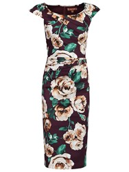 Jolie Moi Floral Print Wiggle Dress Wine