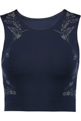 Lucas Hugh Cropped Printed Technical Knit Stretch Top Midnight Blue