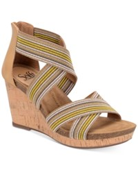 Sofft Cary Wedge Sandals Women's Shoes Tan Yellow And Tan Multi