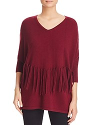 Bloomingdale's C By Fringe Trimmed Cashmere Sweater Cabernet