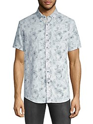 Report Collection Printed Short Sleeve Button Down Shirt Blue