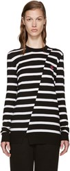 Mcq By Alexander Mcqueen Black And White Distort Striped Sweater