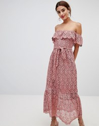 Na Kd Lace Off Shoulder Dress Dusty Dark Pink