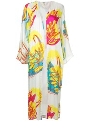 All Things Mochi Abstract Floral Print Kimono White