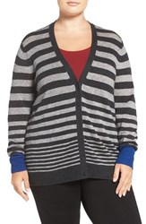 Sejour Plus Size Women's Wool And Cashmere V Neck Cardigan Grey Blue Stripe