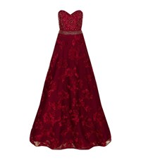 Jovani Embellished Floral Applique Gown Female Red