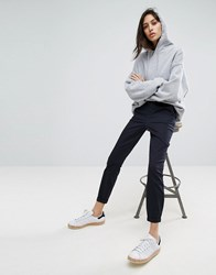 Asos Skinny Chino Trousers With Roll Up Navy