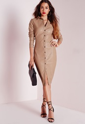 Missguided Faux Leather Fitted Shirt Dress Stone Grey