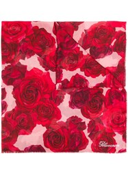 Blumarine Rose Print Scarf Red