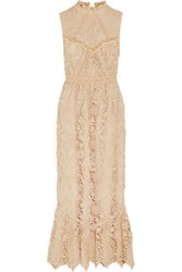 Anna Sui Romantique Ruffled Crocheted Lace Maxi Dress Cream