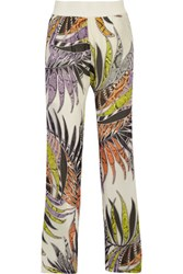 Just Cavalli Printed Stretch Silk Chiffon Wide Leg Pants White
