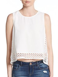Collective Concepts Crochet And Crepe Cropped Tank Ivory