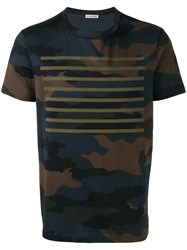 Moncler Camouflage Striped Print T Shirt Blue