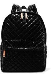 M Z Wallace Mz Metro Leather Trimmed Quilted Patent Shell Backpack Black