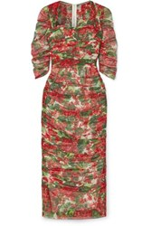 Dolce And Gabbana Ruched Floral Print Cotton Tulle Midi Dress Red