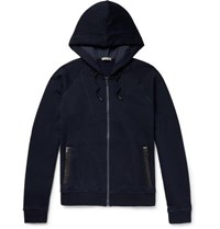 Bottega Veneta Intrecciato Leather Trimmed Cotton And Wool Blend Zip Up Hoodie Navy