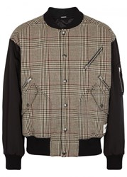 Stella Mccartney Checked Wool Blend Bomber Jacket Beige