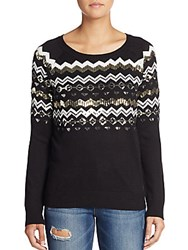 Saks Fifth Avenue Red Intarsia Sequined Sweater Black