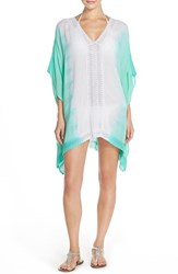 Women's Green Dragon Lace Caftan Cover Up Aqua