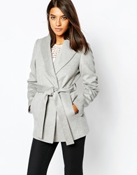 Reiss Sila Belted Coat With Shawl Collar Softgreymelange