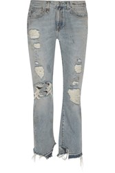 R 13 R13 Bowie Distressed High Rise Straight Leg Jeans Mid Denim