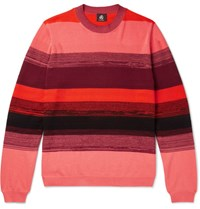 Paul Smith Ps By Striped Textured Cotton Sweater Red