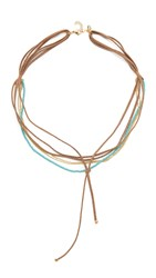 Shashi 3 Strand Suede Choker Necklace Brown Multi