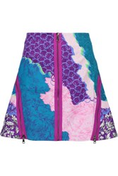 Peter Pilotto Apex Zip Embellished Printed Cotton Blend Canvas Mini Skirt Purple