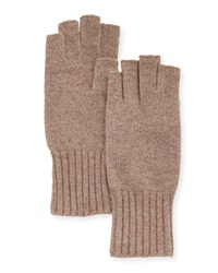 Portolano Wool Fingerless Knit Gloves Light Nile Brown