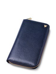 Aspinal Of London Travel Wallet Zipped With Passport Blue