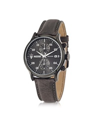 Maserati Epoca Chronograph Gray Dial And Leather Strap Men's Watch