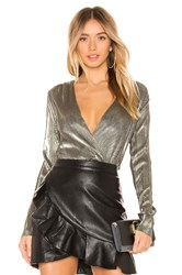 Bcbgeneration V Neck Bodysuit Metallic Gold