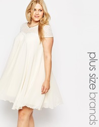 Lipstick Boutique Swing Dress With Lace Neckline Cream