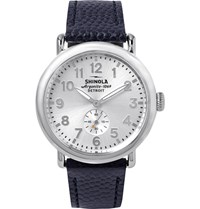 Shinola The Runwell 41Mm Stainless Steel And Pebble Grain Leather Watch Blue