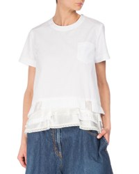 Sacai Short Sleeve Tee W Satin Ruffles White