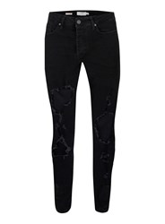 Topman Black Extreme Ripped Stretch Skinny Jeans