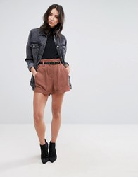 Selected Monna Bucket Waist Shorts Rustic Brown Copper