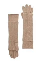 Portolano Cashmere Cable Knit Long Fingerless Gloves Brown