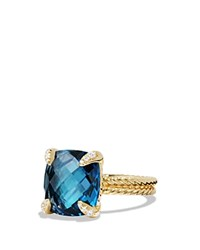 David Yurman Chatelaine Ring With Hampton Blue Topaz And Diamonds In 18K Gold Blue Gold
