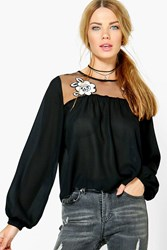 Boohoo Embroidered Mesh Panel Blouse Black
