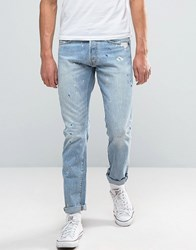Denim And Supply Ralph Lauren Bleached Stone Washed In Slim Fit Blue